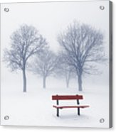 Winter Trees And Bench In Fog Acrylic Print by Elena Elisseeva
