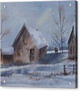 Winter Walk, Watercolor Painting Acrylic Print