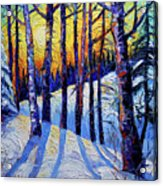 Winter Woodland Sunset Modern Impressionism Palette Knife Oil Painting Acrylic Print