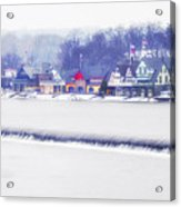 Wintertime At The Fairmount Dam And Boathouse Row Acrylic Print