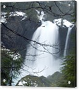 Wintertime Shahalee Falls Obscured By Branches Acrylic Print