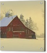 Wintery Barn Acrylic Print