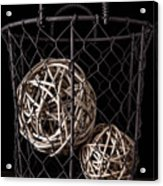 Wire Basket And Balls Still Life Acrylic Print