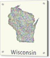 Wisconsin Line Art Map Acrylic Print