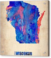 Wisconsin Watercolor Map Acrylic Print by Naxart Studio