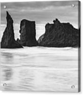 Wizard's Hat Sea Stack - Black And White Acrylic Print