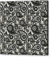 Wolf Gray Paisley Design Acrylic Print