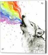 Wolf Rainbow Watercolor Acrylic Print