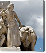 Woman And Bull, Marquis De Pombal Monument Acrylic Print