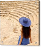 Woman At Greco-roman Theatre At Kourion Archaeological Site In C Acrylic Print