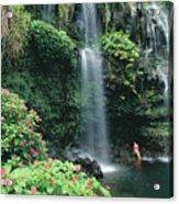 Woman Beneath Waterfall Acrylic Print