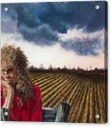 Woman By A Plowed Field Acrylic Print