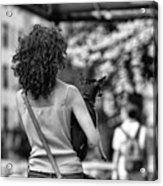 Woman Carry Dog Nyc Blk Wht  Acrylic Print