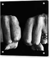 Woman Clenching Two Hands Into Fists In A Fit Of Aggression Acrylic Print