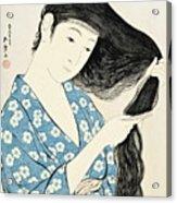 Woman Combing Her Hair Kami Sukeru Onna Acrylic Print