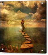 Woman Crossing The Sea On Stepping Stones Acrylic Print by Jill Battaglia