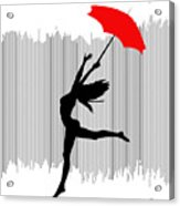 Woman Dancing In The Rain With Red Umbrella Acrylic Print