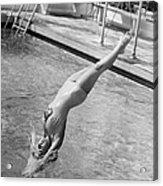 Woman Doing A Back Dive Acrylic Print