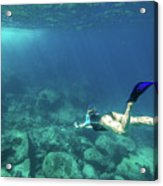 Woman Free Diving Acrylic Print