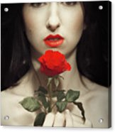 Woman Holding A Red Rose Acrylic Print