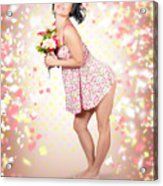 Woman Holding Flowers In Hands. Spring Celebration Acrylic Print