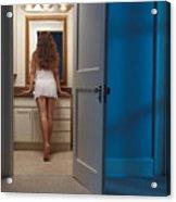 Woman In A Bathroom Acrylic Print