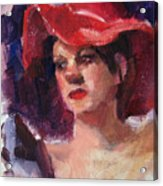 Woman In A Floppy Red Hat Acrylic Print