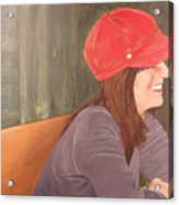 Woman In A Red Cap Acrylic Print