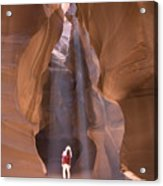 Woman In Antelope Canyon Acrylic Print