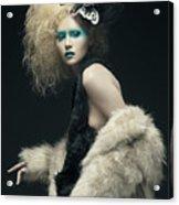 Woman In Black Avant-garde Attire With Butterfly Headdress Acrylic Print