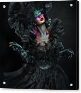 Woman In Black Gown And Headdress In Body Paint Acrylic Print