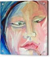 Woman In Blue Acrylic Print