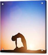 Woman In Camel Yoga Pose Meditating At Sunset Acrylic Print