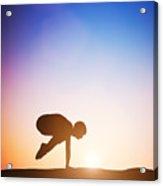 Woman In Crane Pose Yoga Pose Meditating At Sunset Acrylic Print