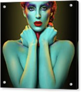 Woman In Cyan Body Paint With Curly Hairstyle Acrylic Print