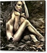 Woman  In Fall #0074 Acrylic Print