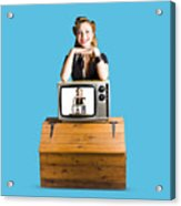 Woman  In Front Of Tv Camera Acrylic Print by Jorgo Photography - Wall Art Gallery