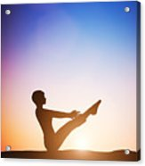 Woman In Full Boat Yoga Meditating At Sunset Acrylic Print