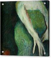 Woman In Green Acrylic Print