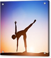 Woman In Half Moon Yoga Pose Meditating At Sunset Acrylic Print