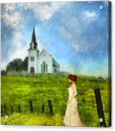 Woman In Lace By A Country Church Acrylic Print