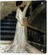 Woman In Lace Gown On Staircase Acrylic Print