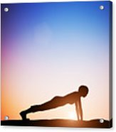 Woman In Plank Yoga Pose Meditating At Sunset Acrylic Print