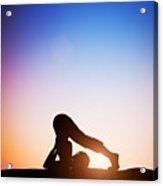 Woman In Plow Yoga Pose Meditating At Sunset Acrylic Print