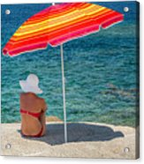 Woman In Red Bikini And White Hat Under Parasol Looking Out To S Acrylic Print