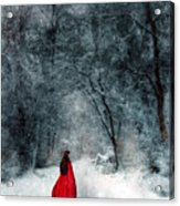 Woman In Red Cape Walking In Snowy Woods Acrylic Print