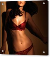 Woman In Red Lingerie Acrylic Print
