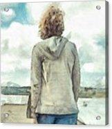 Woman In Rustico Harbor Prince Edward Island Acrylic Print