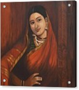 Woman In Saree - After Raja Ravi Varma Acrylic Print
