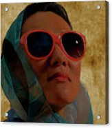 Woman In Scarf And Sunglasses Acrylic Print